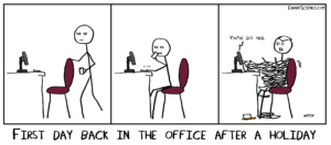 The 5 stages of coming back to the lab after a holiday