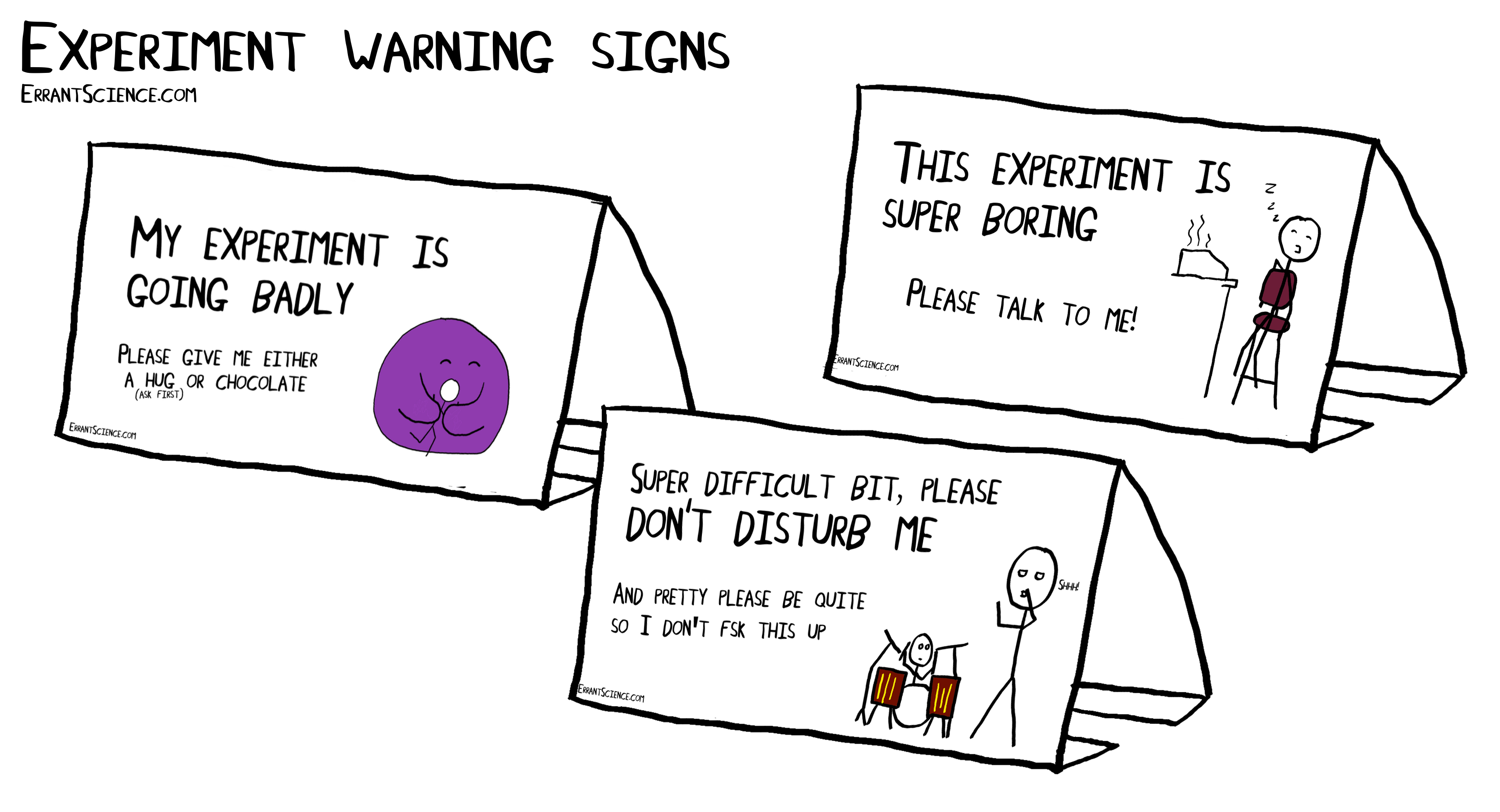 Experiment warning signs (with free print out standees